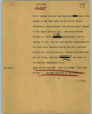 Primary view of object titled '[News Script: Patterson]'.