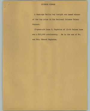Primary view of object titled '[News Script: Science winner]'.