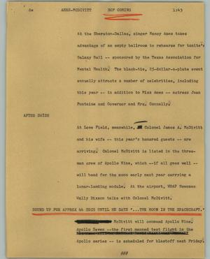 Primary view of object titled '[News Script: Ames McDivitt]'.
