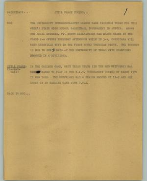 Primary view of object titled '[News Script: Basketball]'.
