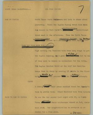 Primary view of object titled '[News Script: North Texas basketball]'.