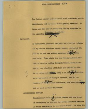 Primary view of object titled '[News Script: Dalco Commissioners]'.