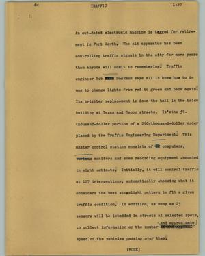 Primary view of object titled '[News Script: Traffic]'.