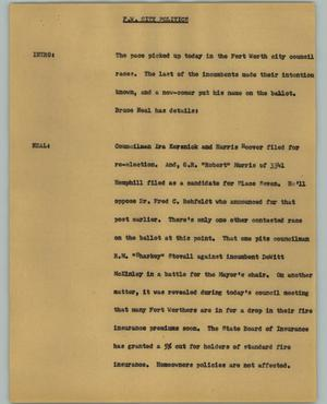 Primary view of object titled '[News Script: Fort Worth city politics]'.
