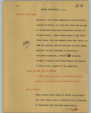 Primary view of object titled '[News Script: Senate committee]'.