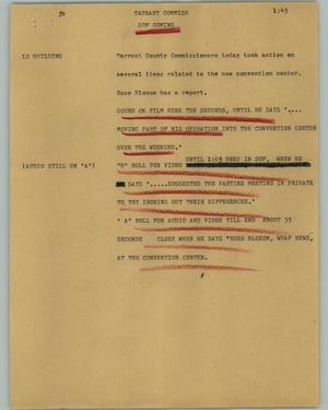 Primary view of object titled '[News Script: Tarrant commish]'.