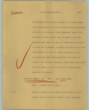 Primary view of object titled '[News Script: Vote Irregularities]'.