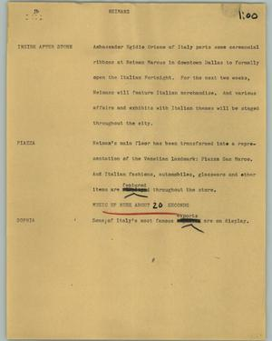 Primary view of object titled '[News Script: Neimans]'.