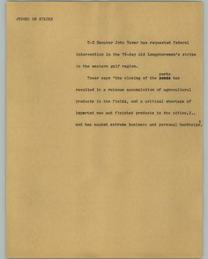 Primary view of object titled '[News Script: Tower on strike]'.