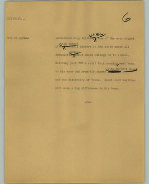 Primary view of object titled '[News Script: Keithley]'.