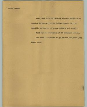 Primary view of object titled '[News Script: Curry Canned]'.