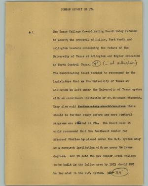 Primary view of object titled '[News Script: Duncan Report on UTA]'.