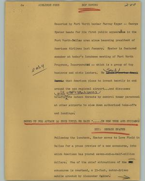 Primary view of object titled '[News Script: Airlines Pres]'.