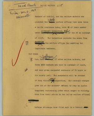 Primary view of object titled '[News Script: Dallas Welfare]'.