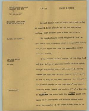 Primary view of object titled '[News Script: TARCO Commissioners Standup for Ten]'.