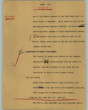 Primary view of object titled '[News Script: Voter]'.