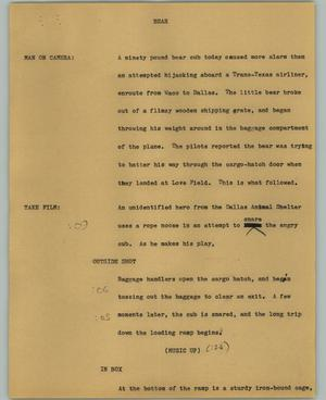 Primary view of object titled '[News Script: Bear]'.
