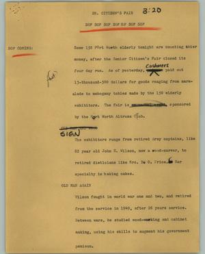 Primary view of object titled '[News Script: Sr. Citizen's Fair]'.