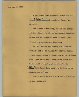 Primary view of object titled '[News Script: Amarillo assaults]'.