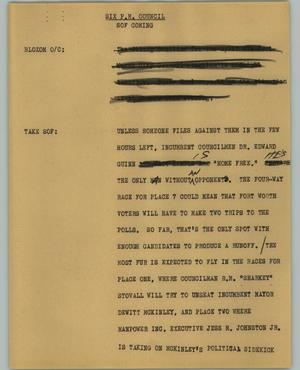 Primary view of object titled '[News Script: Six P.M. Council]'.