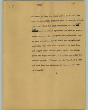 Primary view of object titled '[News Script: Clock]'.