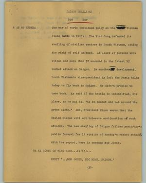 Primary view of object titled '[News Script: Saigon shellings]'.