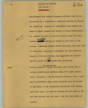 Primary view of object titled '[News Script: Legislative hearing]'.
