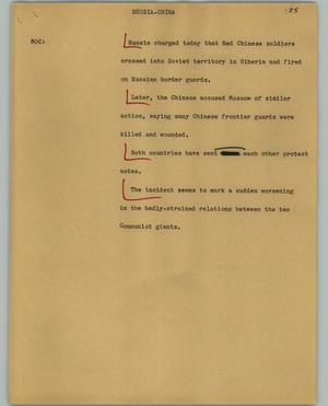 Primary view of object titled '[News Script: Russia-China]'.