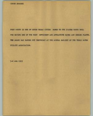 Primary view of object titled '[News Script: Good sewage]'.