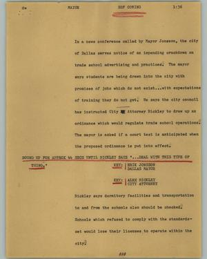 Primary view of object titled '[News Script: Mayor]'.