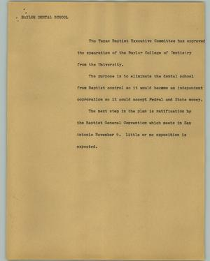 Primary view of object titled '[News Script: Baylor dental school]'.