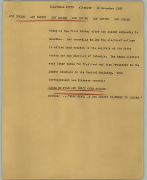 Primary view of object titled '[News Script: Electoral votes]'.