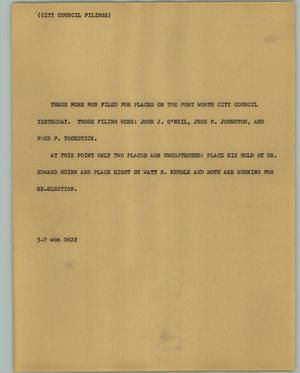 Primary view of object titled '[News Script: City council filings]'.