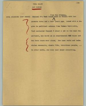 Primary view of object titled '[News Script: Teel Salun]'.