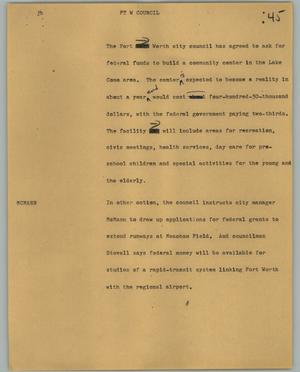 Primary view of object titled '[News Script: Ft W Council]'.