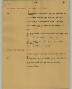 Primary view of object titled '[News Script: Shaw]'.