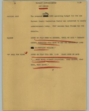 Primary view of object titled '[News Script: Tarrant commissioners]'.