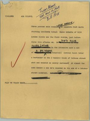 Primary view of object titled '[News Script: Violence]'.