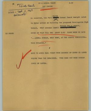 Primary view of object titled '[News Script: Ft Worth School Board]'.