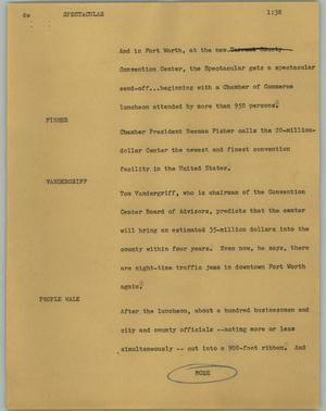 Primary view of object titled '[News Script: Spectacular]'.