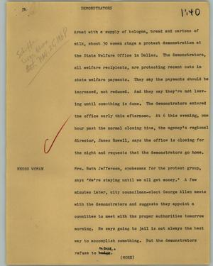 Primary view of object titled '[News Script: Demonstrators]'.