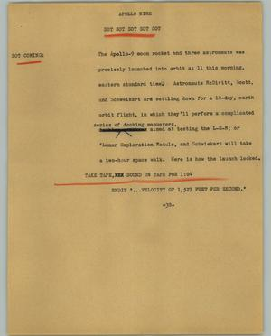 Primary view of object titled '[News Script: Apollo Nine]'.