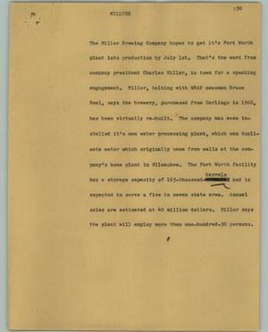 Primary view of object titled '[News Script: Millers]'.