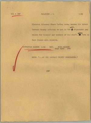 Primary view of object titled '[News Script: Salaries]'.