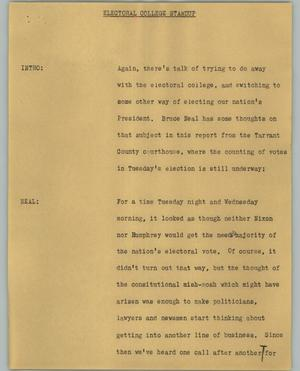 Primary view of object titled '[News Script: Electoral College Standup]'.