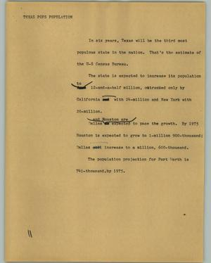 Primary view of object titled '[News Script: Texas Pops Population]'.