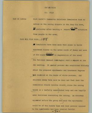 Primary view of object titled '[News Script: CRC meeting]'.