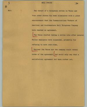 Primary view of object titled '[News Script: Bell strike]'.