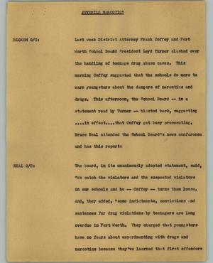 Primary view of object titled '[News Script: Juvenile Narcotics]'.