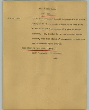 Primary view of object titled '[News Script: Dr. Charles Berry]'.